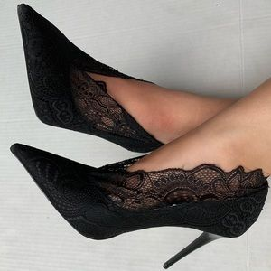 Zara Shoes - Zara Black Lace Court Stiletto High Heels